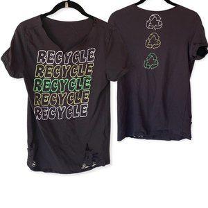 Recycle Boho Grunge Distressed SS Gray Tee